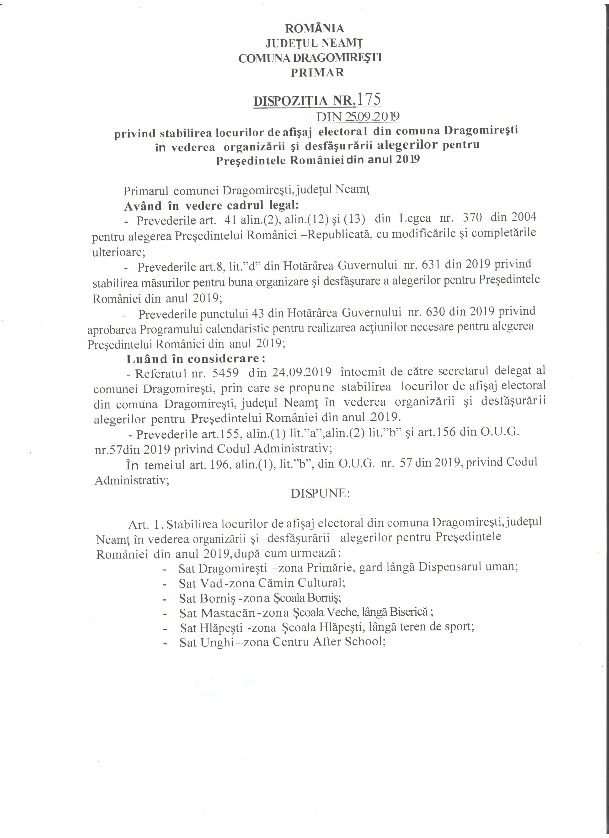 Dispozitia nr. 175 Afisaj electoral pg.1 001